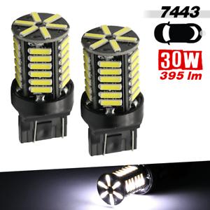 2 x 7443 400Lumens High Power 36-SMD 8000K White Turn Signal LED Light Bulbs