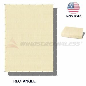 Sun-Shade-Sail-Beige-Hemmed-Fabric-Cloth-Canopy-Awning-Patio-Outdoor-UV-6-10-039-FT