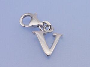 Echt-925-Sterling-Silber-Einhaenger-Charms-rhodiniert-Buchstabe-V-Anhaenger