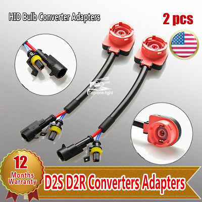 2pc Red AMP Type HID Headlight Bulb Adapter Converter Socket for D2R D2S D4R D4S