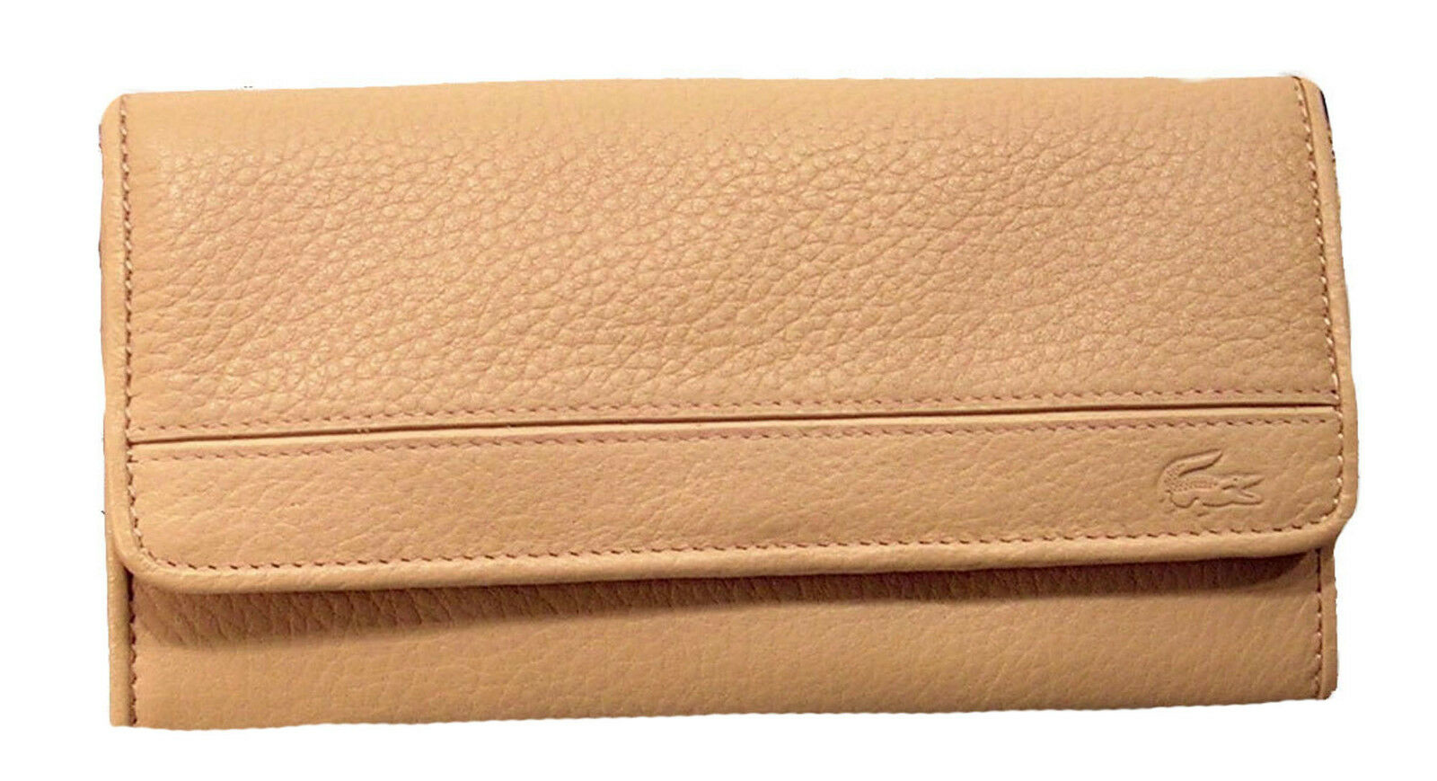 New Authentic Vintage LACOSTE Womens Leather PURSE WALLET Palio 10 Cream