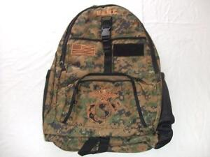 USMC MARINES FORCE RECON BACKPACK DAY PACK  BOOK COMPUTER BAG BLACK  EMBROIDERED