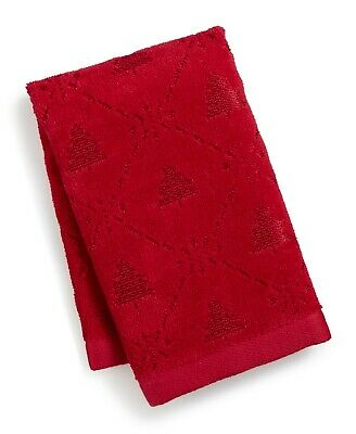 Martha Stewart Collection Snowflake Winter Tree Cotton Hand Towel Red Combo