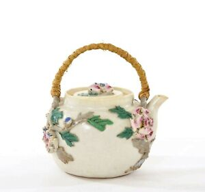 1930's Japanese Banko Ware Porcelain Tea Teapot Relief Flowers Marked