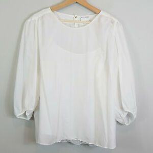 WITCHERY-Womens-3-4-Sleeves-Blouse-Top-in-White-Size-AU-16-or-US-12