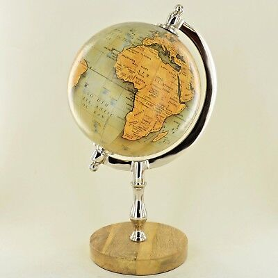 """Globe in Antique Red 8/"""" with Mango Wood Base Luxury Unique Home Decor 11375"""