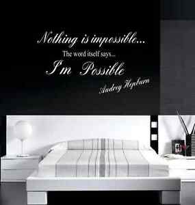 Adesivi Murali Audrey Hepburn.Audrey Hepburn Nothing Is Impossible Wall Decal Wall Decals