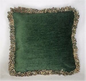 large green chenille throw pillow with fringe for living room sofa handmade usa