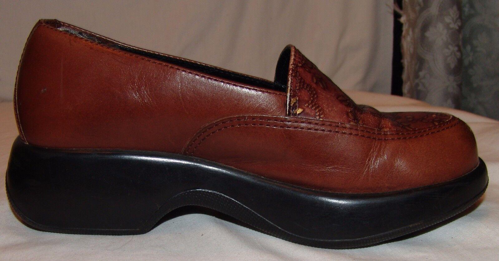 Dansko Brown Leather shoes Clogs 37 Embossed Flowers 6.5 6.5 6.5 7 Floral Nurse Uniform 0a79ea
