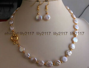 """elegant 11-12mm Natural White Freshwater Baroque Pearl Necklace 18/""""AAA"""