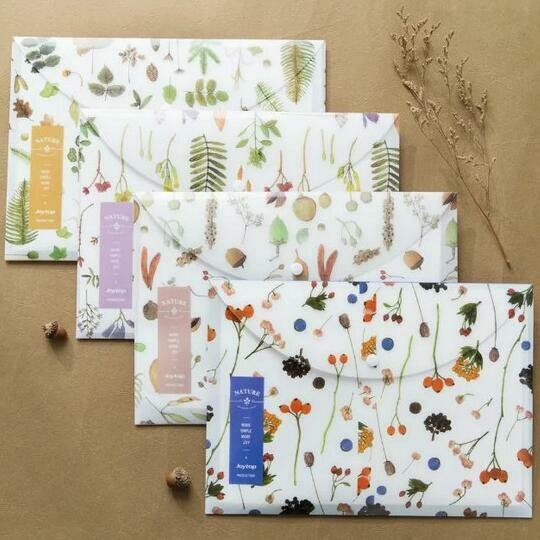"""""""Nature Whisper"""" Document Folder Pack of 4 One Layer A4 Size Plastic File Clips"""
