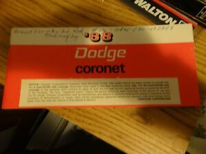 Vintage-Owner-039-s-Manual-1968-Dodge-Coronet