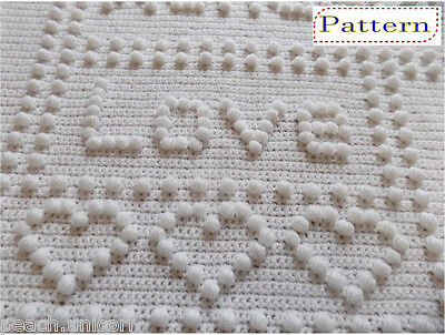 CROCHET PATTERN for Baby Blanket - Precious One-Piece Words by Peach.Unicorn