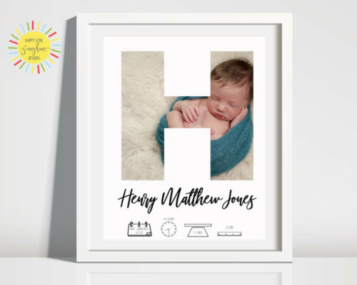 Birth Stats Nursery Baby Birth Print Personalised Unisex Photo Any Letter