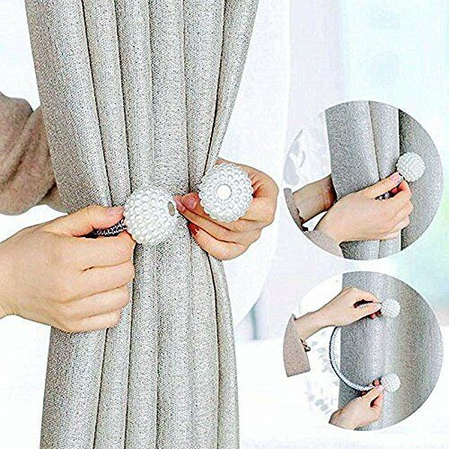 Tiebacks Pearl Beads Tie Backs Buckle Clips Holdbacks Magnetic Curtain 2X DL5