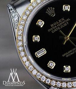 Donna Nero Rolex acciaio 18K ORO 36mm Datejust orologio giubileo di diamante 2 Tonalità