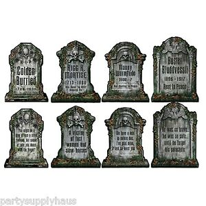 image is loading 4 halloween cemetery graveyard tombstone diecut cutouts party - Cemetery Halloween Decorations