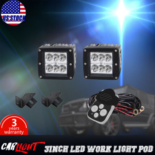 2X Square 3inch 18W Spot LED Work Light Cube Pods Off-road Fog Windshield