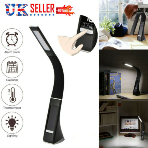 LED Dimmable Reading Bedside Lamp Table Desk Light Calendar Clock Touch Adjust