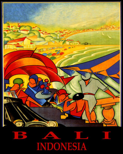 POSTER BALI INDONESIA BEACH PARTY SAILING SUMMER TRAVEL VINTAGE REPRO FREE S//H