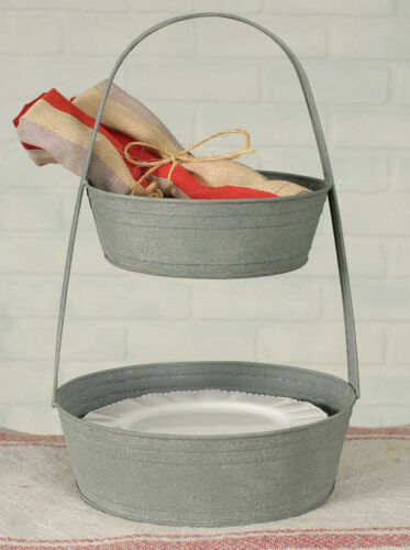 Two Tier Round Metal Tote Farmhouse Ranch French Country Home Decor Rustic Decor