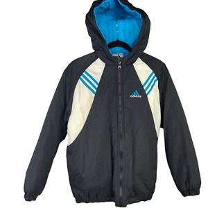 Minimizar aguacero Morgue  Adidas Chaqueta Con Capucha De Nylon Grande L rn #88387 CA #00411 Negro  Azul Blanco De Colección | eBay