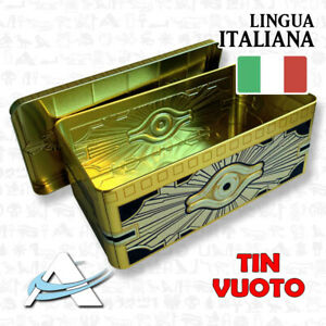 Scatola-Metallica-Porta-Carte-Deck-Mazzo-Yugioh-Tin-vuoto-Sarcofago-d-039-Oro-2019