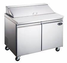Saba 60 Commercial Food Prep Table Refrigerator 2 Door Stainless Steel 16 Pans