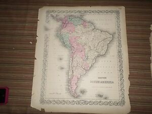 Hand-Colored-Map-of-South-America-1856-G-W-and-C-B-Colton-amp-Co-New-York