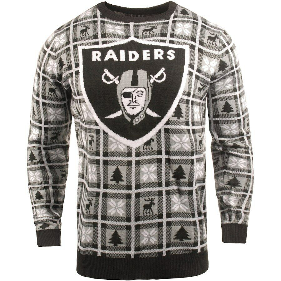 NFL UGLY Sweater Oakland Raiders Pullover Christmas Big Logo Football 18