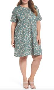 GlamGoldus damen Sage Grün Floral Shift Dress Sz 20 7373