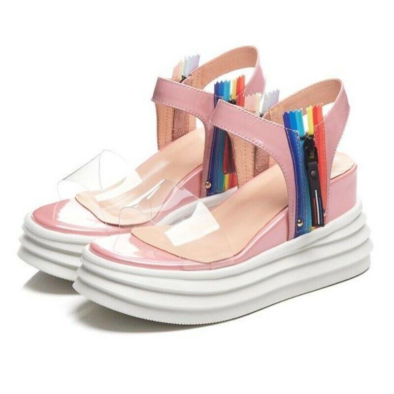 prezzo all'ingrosso e qualità affidabile donna Patent Leather Open Open Open Toe Side Zip Summer Creeper Fashion Sandals scarpe New  Garanzia del prezzo al 100%