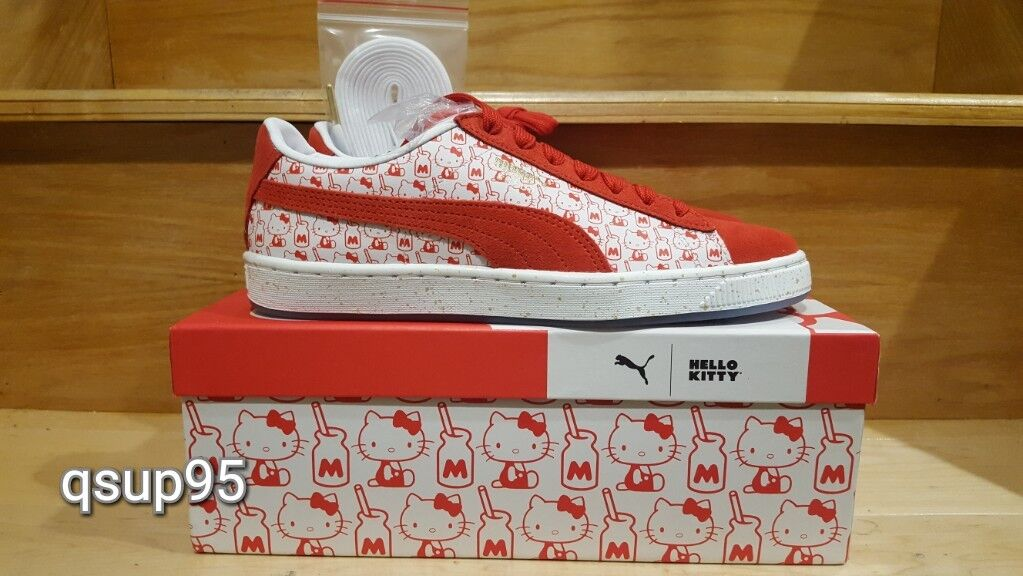Puma X Hello Kitty Womens Suede White Red 366306 01 Size 5-10 New