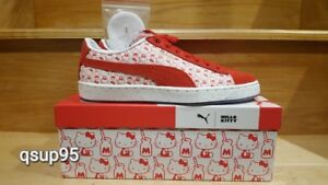 b61f0103a9b2 Puma X Hello Kitty Womens Suede White Red 366306 01 Size 5-10 New
