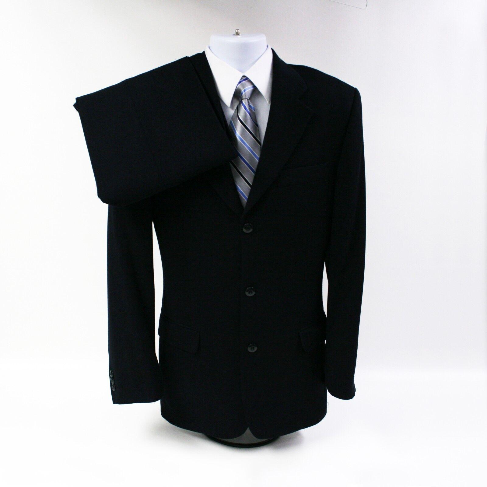 Herren 38 Bachrach Italian Navy Blau 100% Wool 2 Piece Suit 29 Waist, 32 Length