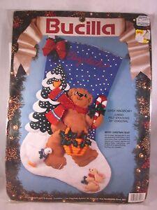 "Bucilla Jumbo Felt Stocking 28"" Diasy Kingdom Merry Christmas Bear Stocking Kit | eBay"