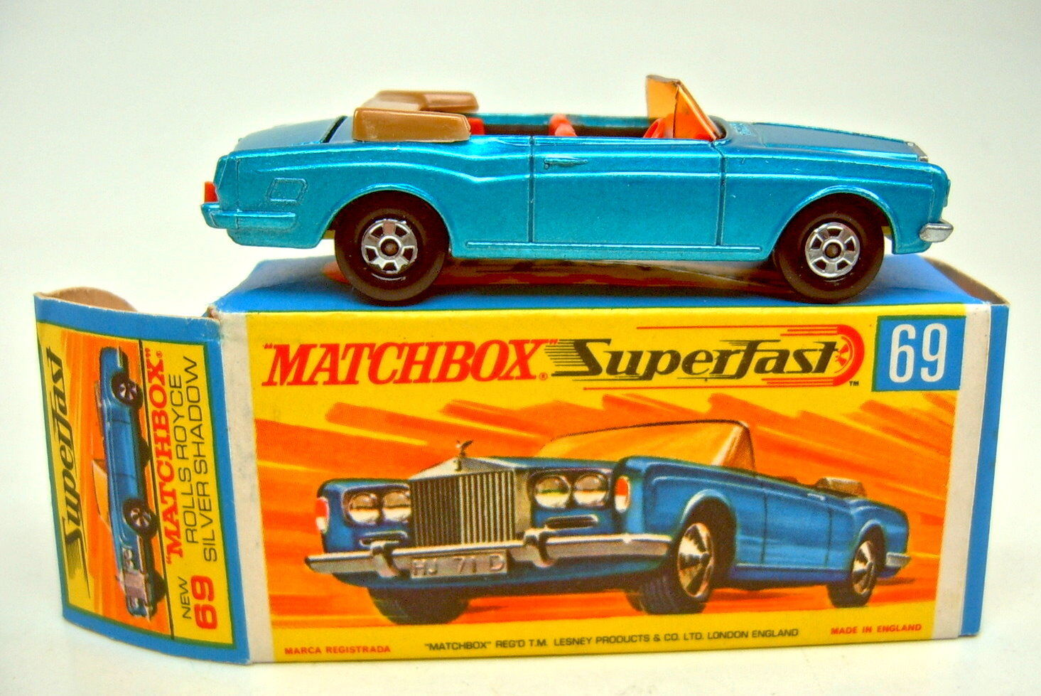 MATCHBOX SF Nº 69 a rolls royce cabriolet bleumetallic Jaune Foncé Plaque de Sol
