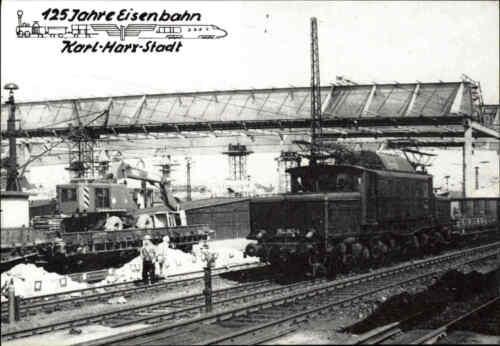 Karl-Marx-Stadt Chemnitz DDR Sonder-AK 125 Jahre Eisenbahn Güterzug Bahnhof