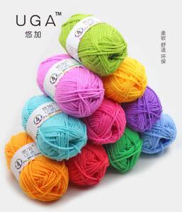 42 Farben Crochet Soft Bambus Baumwolle Knitting Baby Woll Garn 25g