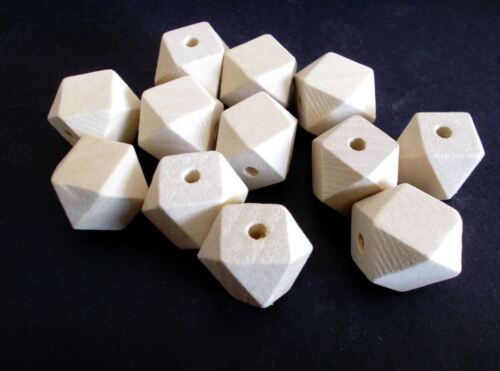 30pcs Natural Unfinished Geometric Wood Beads 20mm Wooden Polygon Unpainted B29