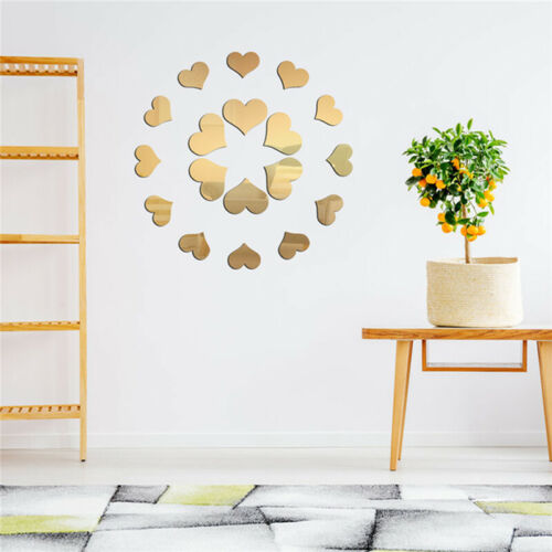 Love Heart Acrylic 3D Mirror Wall Sticker Mural Decal Removable Stickers  J