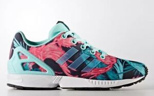 Details about Adidas ZX Flux J Birds Of Paradise Feathers Blue Pink Youth Size 7 Women's 8.5