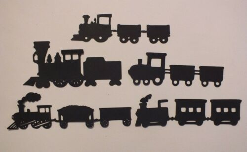 9 TRAINS ENGINES CARRIAGES CARDS CRAFT ROBO DIE CUTS SILHOUETTES