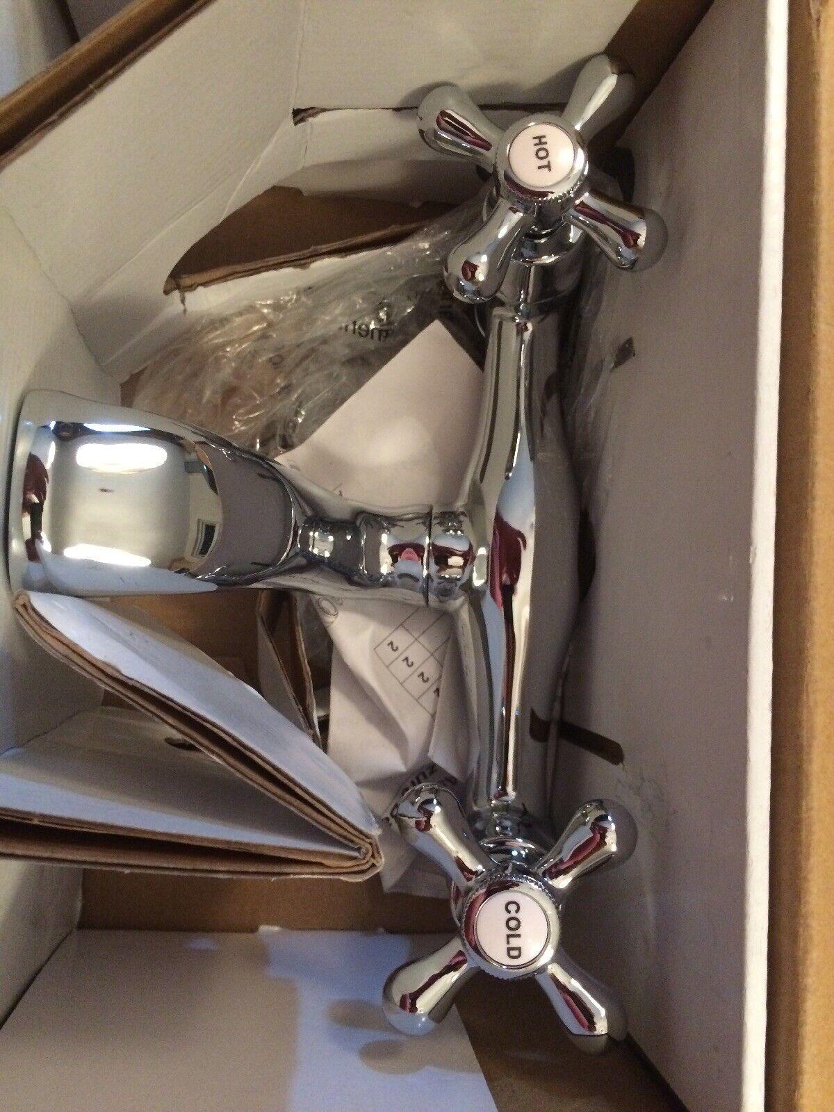 GRAND tradizionale Vittoriano Lavello Bacino Mono Bagno Di Riempimento Rubinetti Doccia Cromato CROSS