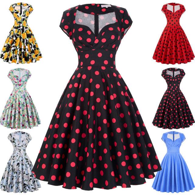 Femmes Grande Taille Femme au foyer Ploka/Floral Swing Pinup 50s 60s