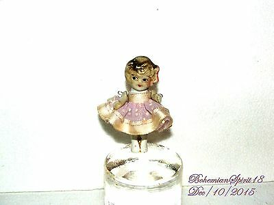 ANTIQUE JAPAN BISQUE FROZEN CHARLOTTE JOINTED ARMS MINIATURE PINK DRESS  DOLL