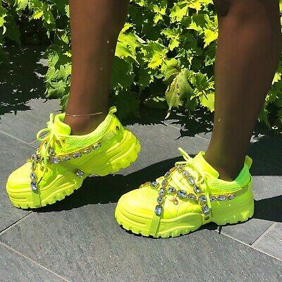 Cape Robbin CHUNK FEVER Black Mesh Trim Jeweled Straps Lug Sole Platform Sneaker