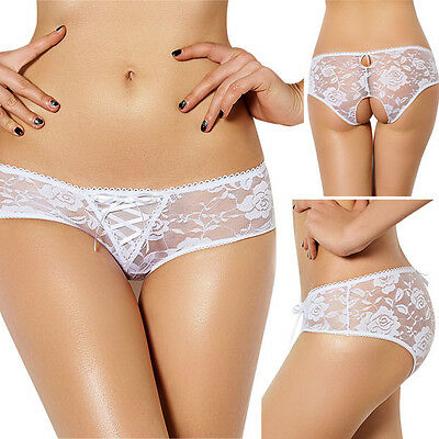 White Lace Ruffled Crotchless Panties Briefs Womens Lingerie Underwear M-6XL US