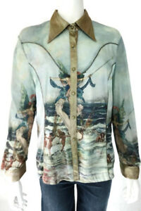 Alberto Makali Button Up Gold Blue Mermaid Blouse Top