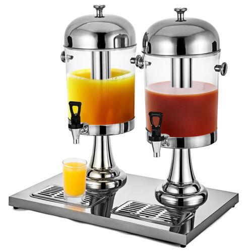 Double Juice Dispenser Lemonade Cold Drink Cooler Machine 18L Beverage Juicer